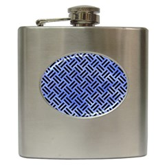 Woven2 Black Marble & Blue Watercolor (r) Hip Flask (6 Oz)