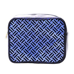 Woven2 Black Marble & Blue Watercolor (r) Mini Toiletries Bag (one Side) by trendistuff