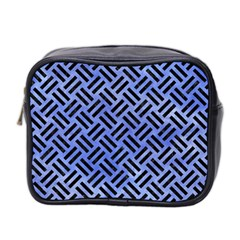 Woven2 Black Marble & Blue Watercolor (r) Mini Toiletries Bag (two Sides) by trendistuff