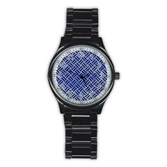 Woven2 Black Marble & Blue Watercolor (r) Stainless Steel Round Watch by trendistuff