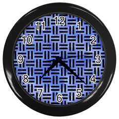 Woven1 Black Marble & Blue Watercolor (r) Wall Clock (black) by trendistuff