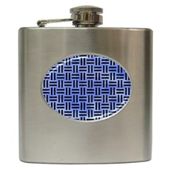 Woven1 Black Marble & Blue Watercolor (r) Hip Flask (6 Oz) by trendistuff