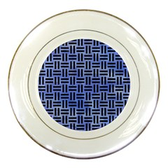 Woven1 Black Marble & Blue Watercolor (r) Porcelain Plate by trendistuff