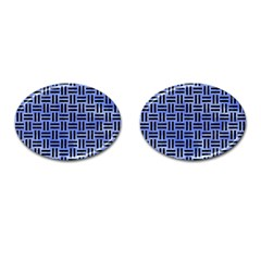Woven1 Black Marble & Blue Watercolor (r) Cufflinks (oval) by trendistuff
