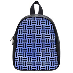 Woven1 Black Marble & Blue Watercolor (r) School Bag (small) by trendistuff
