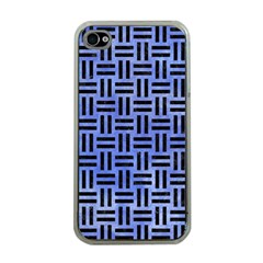Woven1 Black Marble & Blue Watercolor (r) Apple Iphone 4 Case (clear) by trendistuff