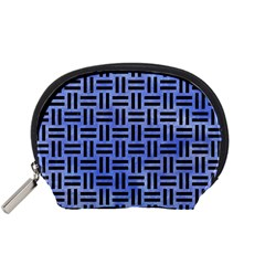 Woven1 Black Marble & Blue Watercolor (r) Accessory Pouch (small) by trendistuff