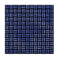 Woven1 Black Marble & Blue Watercolor Tile Coaster by trendistuff