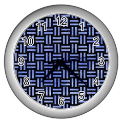 Woven1 Black Marble & Blue Watercolor Wall Clock (silver) by trendistuff