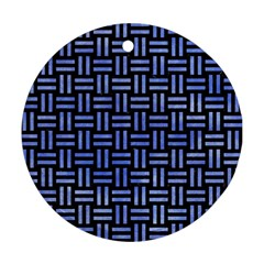 Woven1 Black Marble & Blue Watercolor Round Ornament (two Sides) by trendistuff
