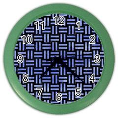 Woven1 Black Marble & Blue Watercolor Color Wall Clock by trendistuff