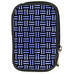 Woven1 Black Marble & Blue Watercolor Compact Camera Leather Case by trendistuff