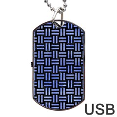 Woven1 Black Marble & Blue Watercolor Dog Tag Usb Flash (one Side) by trendistuff