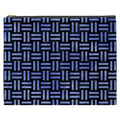 Woven1 Black Marble & Blue Watercolor Cosmetic Bag (xxxl) by trendistuff
