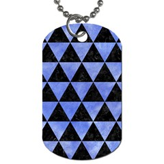 Triangle3 Black Marble & Blue Watercolor Dog Tag (two Sides) by trendistuff