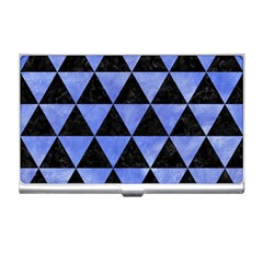 Triangle3 Black Marble & Blue Watercolor Business Card Holder by trendistuff