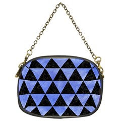 Triangle3 Black Marble & Blue Watercolor Chain Purse (one Side) by trendistuff