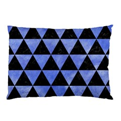 Triangle3 Black Marble & Blue Watercolor Pillow Case by trendistuff