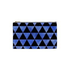 Triangle3 Black Marble & Blue Watercolor Cosmetic Bag (small) by trendistuff