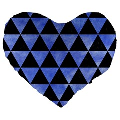 Triangle3 Black Marble & Blue Watercolor Large 19  Premium Heart Shape Cushion by trendistuff