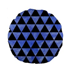 Triangle3 Black Marble & Blue Watercolor Standard 15  Premium Flano Round Cushion  by trendistuff
