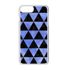 Triangle3 Black Marble & Blue Watercolor Apple Iphone 7 Plus White Seamless Case