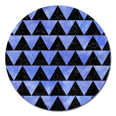 Triangle2 Black Marble & Blue Watercolor Magnet 5  (round)