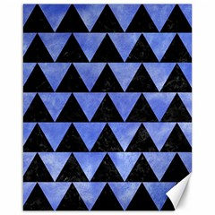 Triangle2 Black Marble & Blue Watercolor Canvas 16  X 20  by trendistuff