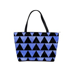 Triangle2 Black Marble & Blue Watercolor Classic Shoulder Handbag by trendistuff