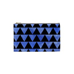 Triangle2 Black Marble & Blue Watercolor Cosmetic Bag (small) by trendistuff