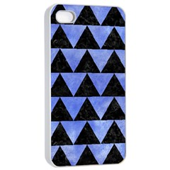 Triangle2 Black Marble & Blue Watercolor Apple Iphone 4/4s Seamless Case (white) by trendistuff