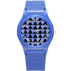 Triangle2 Black Marble & Blue Watercolor Round Plastic Sport Watch (s) by trendistuff