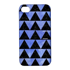 Triangle2 Black Marble & Blue Watercolor Apple Iphone 4/4s Hardshell Case With Stand