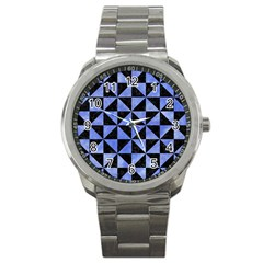 Triangle1 Black Marble & Blue Watercolor Sport Metal Watch by trendistuff