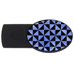 Triangle1 Black Marble & Blue Watercolor Usb Flash Drive Oval (4 Gb) by trendistuff