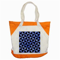 Triangle1 Black Marble & Blue Watercolor Accent Tote Bag by trendistuff