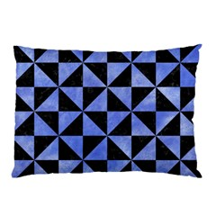 Triangle1 Black Marble & Blue Watercolor Pillow Case by trendistuff