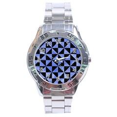 Triangle1 Black Marble & Blue Watercolor Stainless Steel Analogue Watch by trendistuff