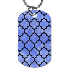 Tile1 Black Marble & Blue Watercolor (r) Dog Tag (two Sides) by trendistuff