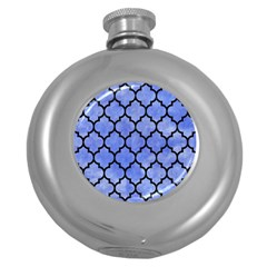 Tile1 Black Marble & Blue Watercolor (r) Hip Flask (5 Oz) by trendistuff