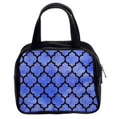 Tile1 Black Marble & Blue Watercolor (r) Classic Handbag (two Sides) by trendistuff