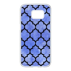 Tile1 Black Marble & Blue Watercolor (r) Samsung Galaxy S7 Edge White Seamless Case by trendistuff