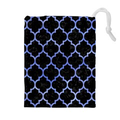 Tile1 Black Marble & Blue Watercolor Drawstring Pouch (xl) by trendistuff