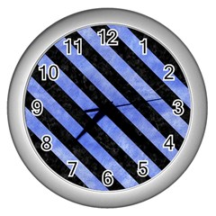 Stripes3 Black Marble & Blue Watercolor (r) Wall Clock (silver) by trendistuff