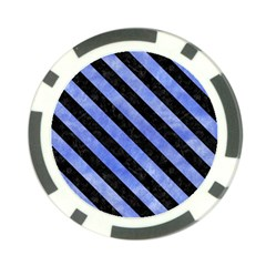 Stripes3 Black Marble & Blue Watercolor (r) Poker Chip Card Guard (10 Pack) by trendistuff