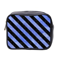 Stripes3 Black Marble & Blue Watercolor (r) Mini Toiletries Bag (two Sides) by trendistuff