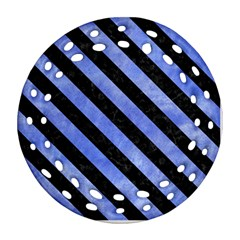Stripes3 Black Marble & Blue Watercolor (r) Ornament (round Filigree) by trendistuff
