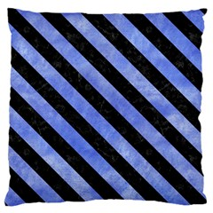 Stripes3 Black Marble & Blue Watercolor (r) Standard Flano Cushion Case (one Side) by trendistuff