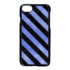 Stripes3 Black Marble & Blue Watercolor (r) Apple Iphone 7 Seamless Case (black) by trendistuff