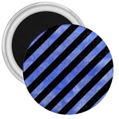 Stripes3 Black Marble & Blue Watercolor 3  Magnet by trendistuff